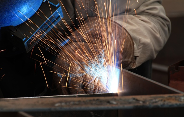 Picture heat, sparks, welder, personal protective equipment, welding, electrical arc