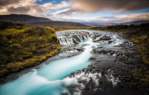 Picture clouds, river, hills, waterfall, horizon