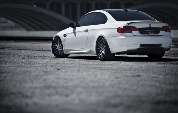 Picture white, bmw, BMW, white, wheels, rear view, e92