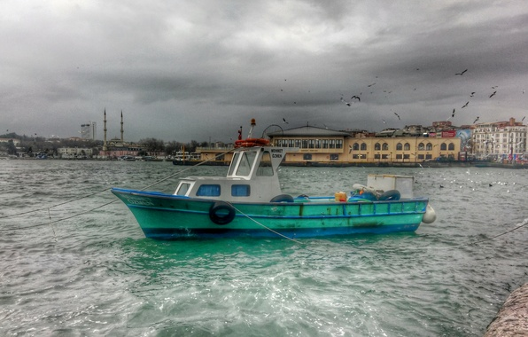 Picture photo, HDR, River, Ship, Boat