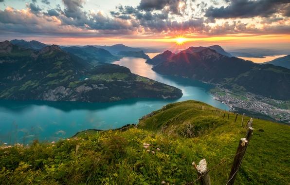 Picture sunset, mountains, lake, Switzerland, Alps, panorama, Switzerland, Alps, Lake Lucerne, Lake Lucerne, Lake Lucerne