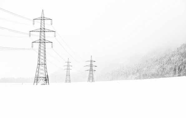 Picture winter, snow, landscape, power lines