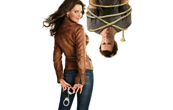 Picture smile, jeans, rope, brunette, jacket, hairstyle, white background, Katherine Heigl, Katherine Heigl, poster, handcuffs, hanging, …