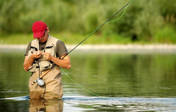 Picture NATURE, WATER, RED, RIVER, MOOD, COSTUME, EQUIPMENT, FLY fishing, HOBBY, FISHERMAN, TACKLE, CAP, HOBBY, Fishing …