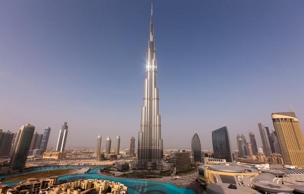 Picture the sky, water, sunset, home, skyscrapers, tower, Dubai, Dubai, Burj Khalifa