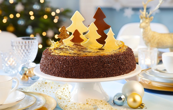 Photo Wallpaper Decoration Tape Table Holiday Tree Christmas Cake