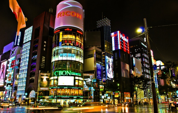 Picture road, night, the city, lights, street, building, excerpt, Japan, Tokyo, crossroads, Tokyo, Japan, stores