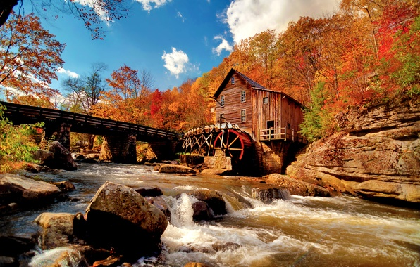 Picture autumn, the sky, clouds, nature, river, stones, stream, water mill, the colors of autumn