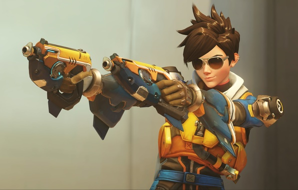 Picture girl, rendering, guns, glasses, skin, Overwatch, tracer, slipstream, slipstream tracer