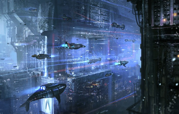 Picture Water, The ocean, Art, Sci-Fi, Subs, Underwater city, Submarines