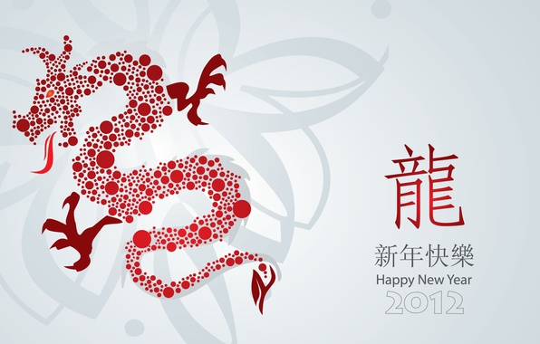 Picture circles, holiday, dragon, new year, figures, characters, red, white background, red, white, 2012, new year, …