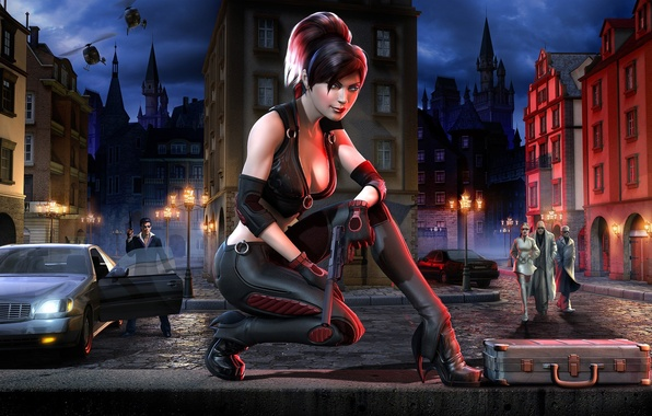 Picture night, the city, gun, girls, helicopters, lights, men, crime, mafia, Bloodrayne