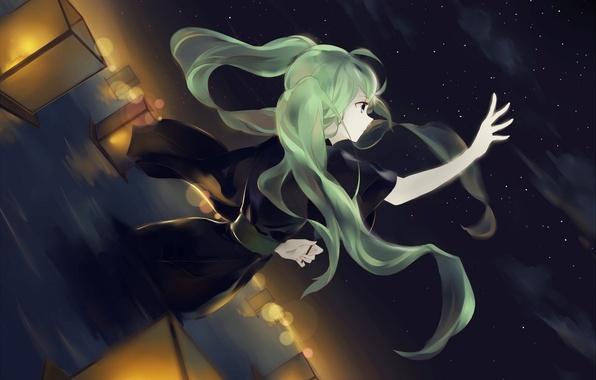 Picture the sky, girl, stars, night, art, kimono, vocaloid, hatsune miku, lanterns, Vocaloid
