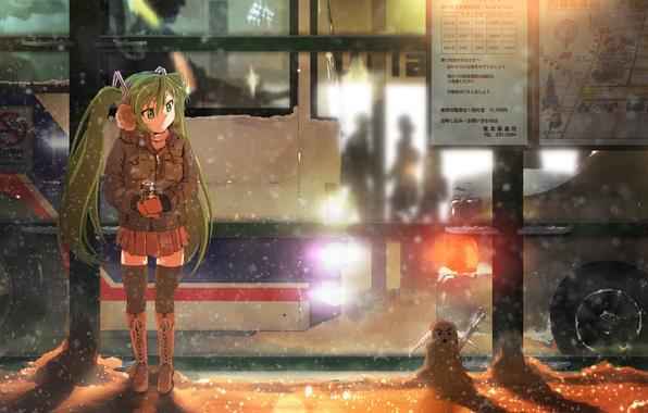 Picture winter, girl, snow, night, lights, map, being, snowman, bus, drink, vocaloid, hatsune miku, stop