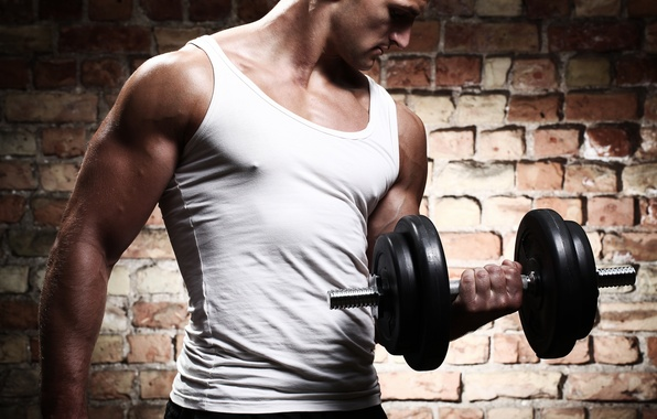 Picture wall, Mike, male, Jock, muscle, brick, dumbbell