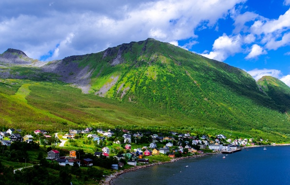 Picture the sky, clouds, trees, mountains, home, Bay, Norway, the village