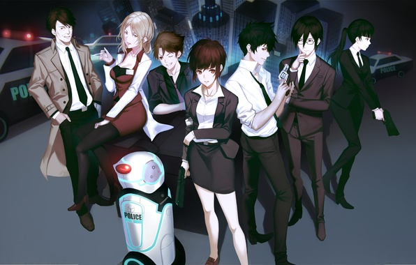 Picture the city, gun, weapons, girls, robot, home, police, anime, art, guys, yykuaixian, psycho-pass, tsunemori akane, …