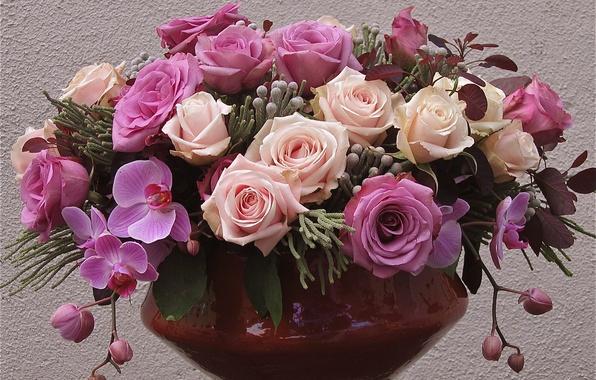 Picture purple, flowers, lilac, pink, roses, vase, purple, orchids