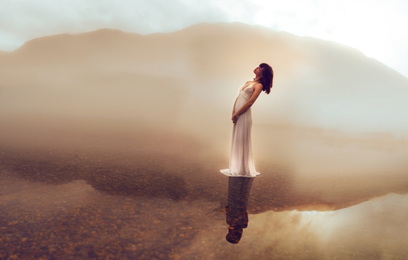 Picture water, girl, lake, reflection, mood, dress