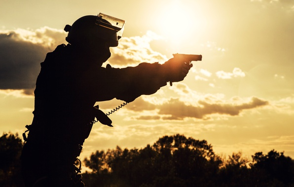 Picture gun, blur, silhouette, fighter, bokeh, special forces, wallpaper., special forces, spetsnaz, the military situation, ammunition, …