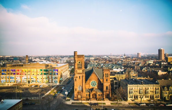 Picture the sky, clouds, horizon, Wisconsin, street, Milwaukee, United States, St Paul's Church