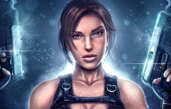 Picture girl, weapons, guns, art, Tomb Raider, Lara Croft