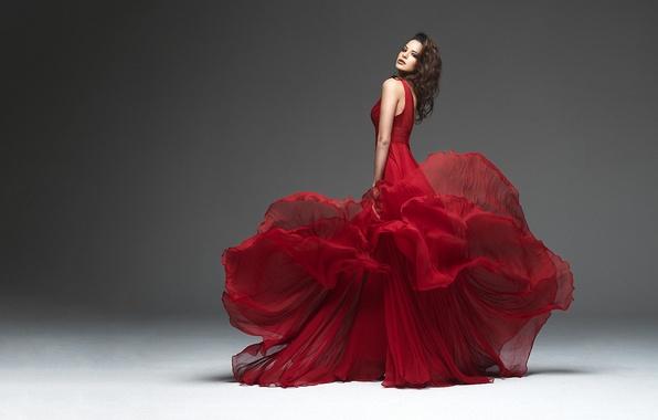 Picture girl, red, model, dress, grey background, Natascha Verkaik