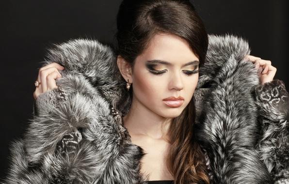 Picture girl, eyelashes, model, hair, earrings, hands, makeup, ring, coat, fur, closed eyes