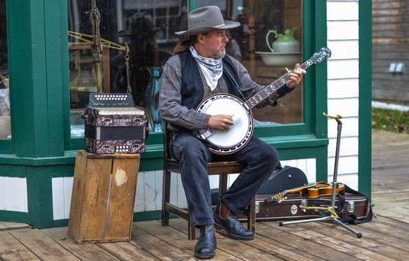 Picture music, street, player, banjo