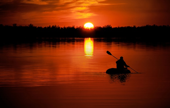 Picture sunset, nature, river, the way, boat, people, goal, the evening, silhouette, river, nature, sunset, zodiac, ...