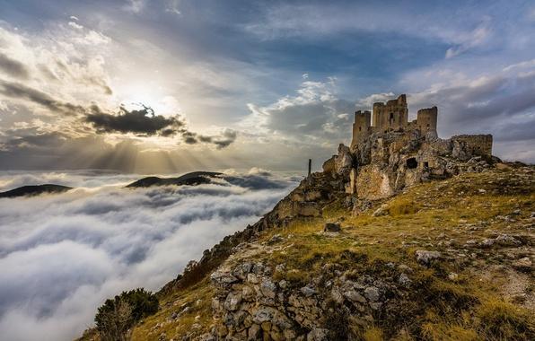 Picture the sky, landscape, castle, ruins, obloka