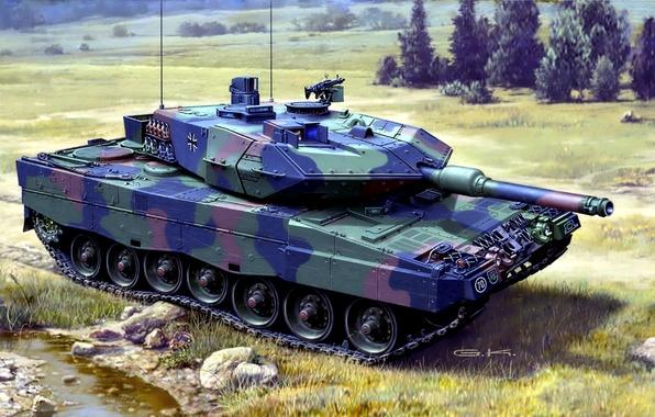 Picture figure, art, tank, camouflage, coloring, combat, German, main, Leopard 2, Leopard 2