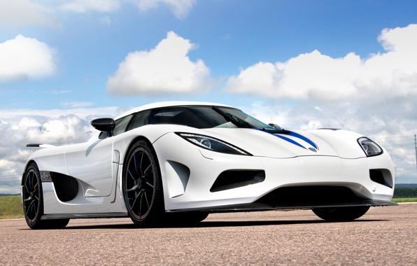 Picture white, the sky, clouds, Koenigsegg, supercar, the front, hypercar, agera R, Koenigsegg, Agera R