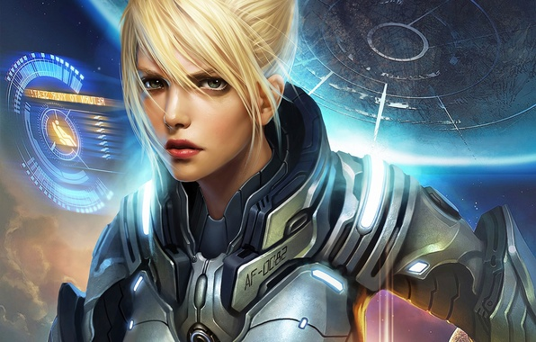 Picture girl, space, interface, planet, costume, space, girl, armor, armor, cover, planet, cover, suit, interface, This …
