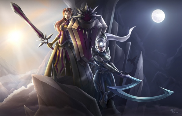 Picture weapons, girls, the moon, sword, art, braid, league of legends, Leona, Diana