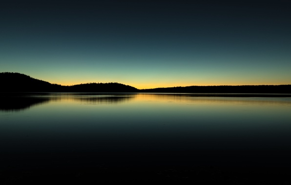 Picture the sky, reflection, hills, morning, mirror, silhouette, Oregon, United States, Pauline lake