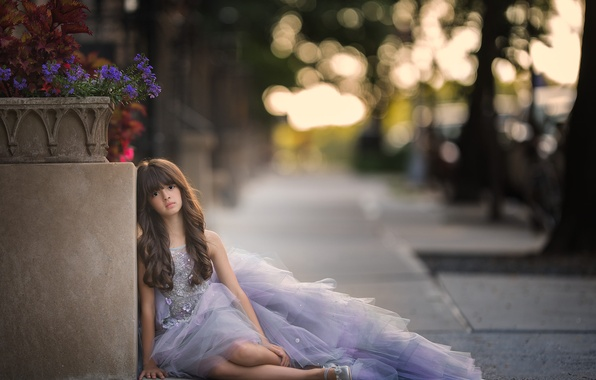 Picture look, flowers, mood, dress, girl