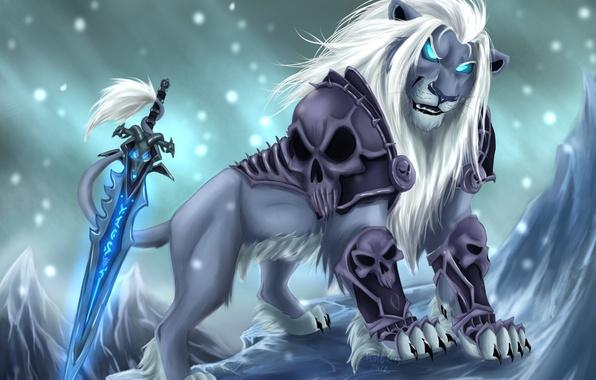 Picture cold, look, snow, weapons, magic, sword, Leo, art, mane, skull, armor