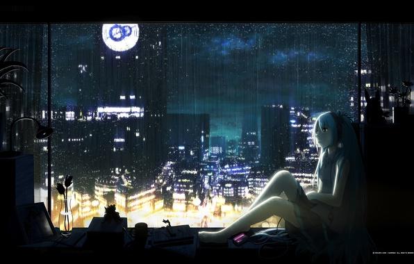 Picture flower, night, rain, headphones, sill, vocaloid, hatsune miku, Vocaloid, blue hair