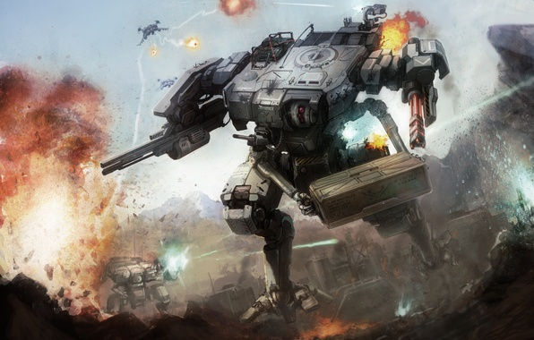 Picture fire, war, robot, explosions, gun, box, combat, shagatel