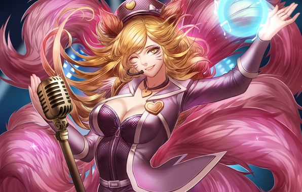 Picture girl, smile, magic, neckline, microphone, ears, art, Fox, league of legends, tails, winks, ahri, liuruoyu8888