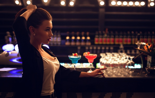 Picture girl, drinks, stand, Ivan Gorokhov, BAR, at the bar