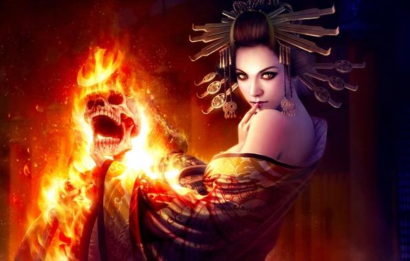 Picture girl, decoration, fire, magic, skull, art, mario wibisono, sklet