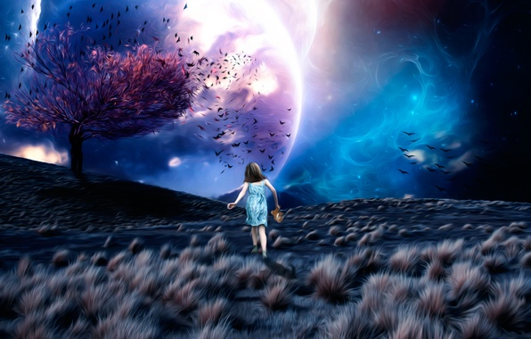 Picture space, fantasy, tree, art, girl, Lost in a Dream, leaves birds, ????