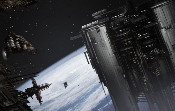 Picture space, planet, ships, station, art, orbit, Kim Dong Ha