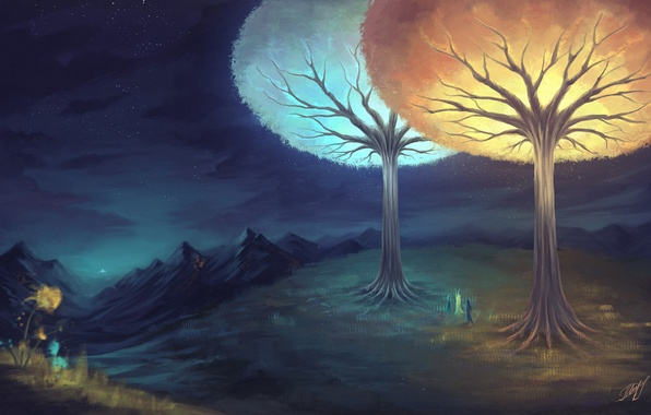 Picture trees, night, glow, stars, art, painted landscape