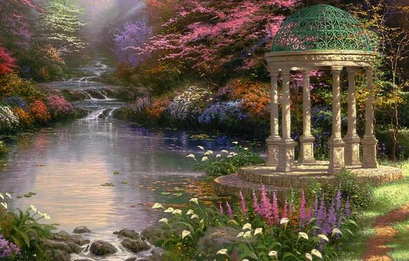 Picture flowers, Park, stream, picture, cascade, rotunda