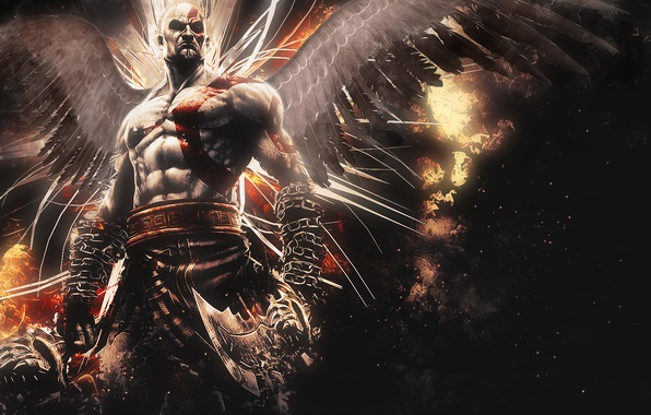 Picture abstract, Kratos, God of War, wings, background, video game, Ascension, blades, God of War: Ascension, …