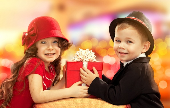 Picture children, mood, holiday, gift, boy, girl, hat, smile, congratulations