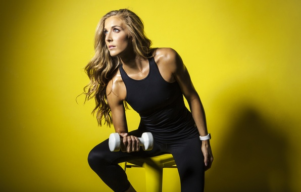 Picture yellow, fitness, dumbell, Danielle Pascente